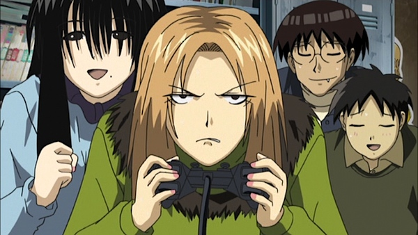 Saki Kasukabe (center) tries to learn how to play a game in order to get closer to her boyfriend, the otaku gamer Kousaka.