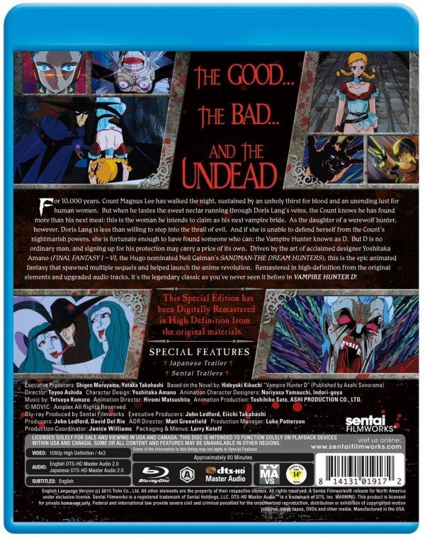 Vampire hunter D BD Cover Back